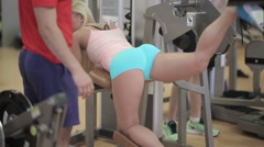 Girl doing exercises for gluteal muscles Stock Footage