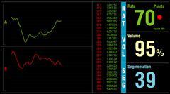 Big Data or financial stock market ticker digital display analys Stock Illustration