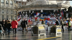 Place de la Republique, Paris after Paris Attacks Stock Footage