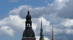 Three old town towers Riga Stock Footage