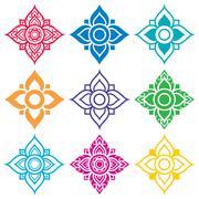 Thai folk art pattern - flower shape - stock illustration