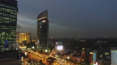 Panned view of Jakarta at night Stock Footage