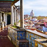 Architecture in Alfama district in Lisbon, Portugal Stock Photos
