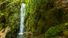 Phuket island jungle famous waterfall side panorama 4k time lapse thailand Stock Footage