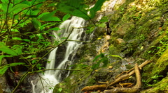 Phuket island nature jungle famous waterfall panorama 4k time lapse thailand Stock Footage