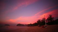 Phuket island summer sunset kata noi beach panorama 4k time lapse thailand Stock Footage