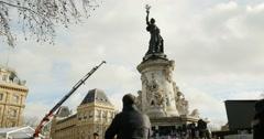 Place de la Republique, Paris after Paris Attacks Stock Footage