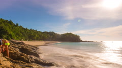 Sun light phuket popular private freedom beach panorama 4k time lapse thailand Stock Footage