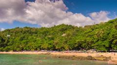 Sunny day laem sing beach panorama 4k tim elapse phuket island thailand Stock Footage