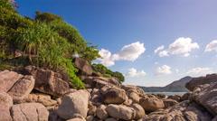 Summer day laem sing beach rocky bay panorama 4k time lapse phuket thailand Stock Footage