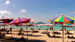 Day patong beach tourist umbrella cruise liner panorama 4k time lapse thailand Stock Footage