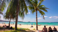 Phuket island summer day patong beach palm panorama 4k time lapse thailand Stock Footage