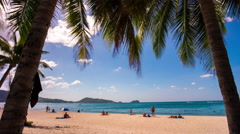 Phuket island patong beach palm tree panorama 4k tim elapse thailand Stock Footage