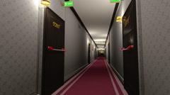 Elegant Hotel Corridor Exit Door in Focus 3D Animation - stock footage
