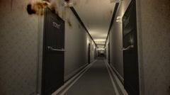 Elegant Hotel Corridor Exit Door in Focus Vintage 3D Animation - stock footage