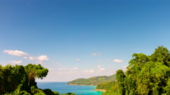 Summer phuket island view point beach bay panorama 4k time lapse thailand Stock Footage