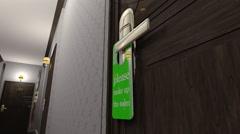 Make Up Room Hotel Door Sign Cinematic Motion Vertigo Effect 3D Animation 1 - stock footage