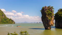 Summer day james bond island water traffic panorama 4k time lapse thailand Stock Footage