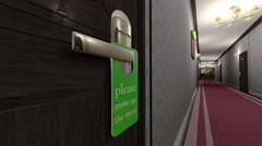 Make Up Room Hotel Door Sign Cinematic Motion Vertigo Effect 3D Animation 2 - stock footage