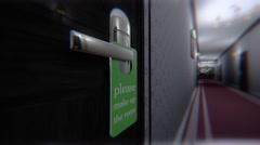 Make Up Room Hotel Door Sign Cinematic Motion Vertigo Effect Scary 3D Animati Stock Footage
