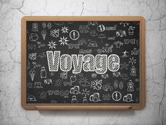 Vacation concept: Voyage on School board background - stock illustration