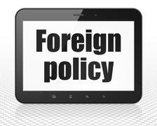 Politics concept: Tablet Pc Computer with Foreign Policy on display - stock illustration