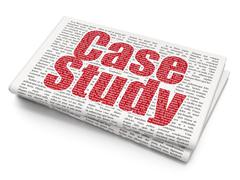 Learning concept: Case Study on Newspaper background - stock illustration