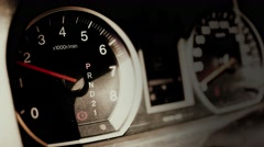 4K Car Engine Test in Parking Mode RPM Meter 1 Stock Footage