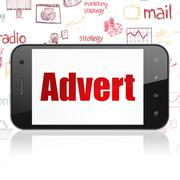 Advertising concept: Smartphone with Advert on display - stock illustration