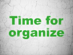 Time concept: Time For Organize on wall background Stock Illustration