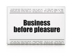 Business concept: newspaper headline Business Before pleasure Stock Illustration
