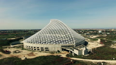 Designed by Calatrava. Camera is fast approaching. Aerial video N. Stock Footage