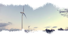 Wind turbines appearing in an animated ink effect. Stock Footage