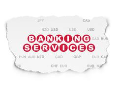 Money concept: Banking Services on Torn Paper background - stock illustration