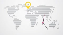 Map of world time zones and clock Stock Footage