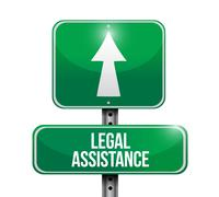 Legal assistance road sign concept - stock illustration