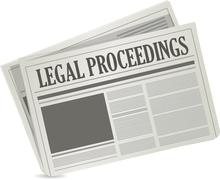 legal proceedings newspaper sign concept - stock illustration
