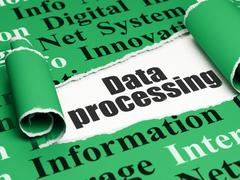 Data concept: black text Data Processing under the piece of  torn paper - stock illustration