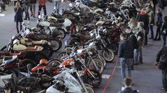 big exhibition of motorcycles - stock footage