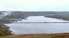 Pontoon bridge across the Oka. Russia,Pavlovo,Nizhny Novgorod region Stock Footage
