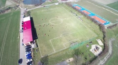 Aerial view of amateur football - stock footage