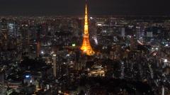 Tokyo Tower & skyline at dusk, Tokyo - stock footage