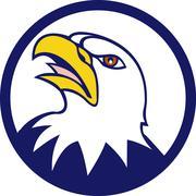 Bald Eagle Head Angry Looking Up Circle Retro - stock illustration
