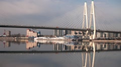 cable-stayed bridge time lapse - stock footage