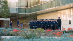 LAPD headquarters with cadets saluting in Downtown LA 4K Stock Footage