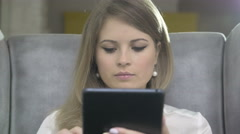 Portrait of Young Beautiful Smiling Woman Using Skype On Tablet PC - stock footage