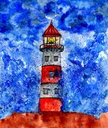Lighthouse in the Storm - stock illustration