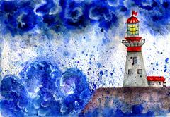Stock Illustration of Lighthouse in the Storm