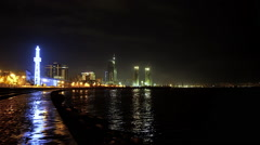 Baku Skyline and Capsin Sea at Night, Azerbaijan Stock Footage