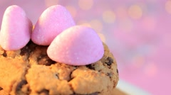 Biscuit on a plate - pink background - Candy Store - 01 Stock Footage